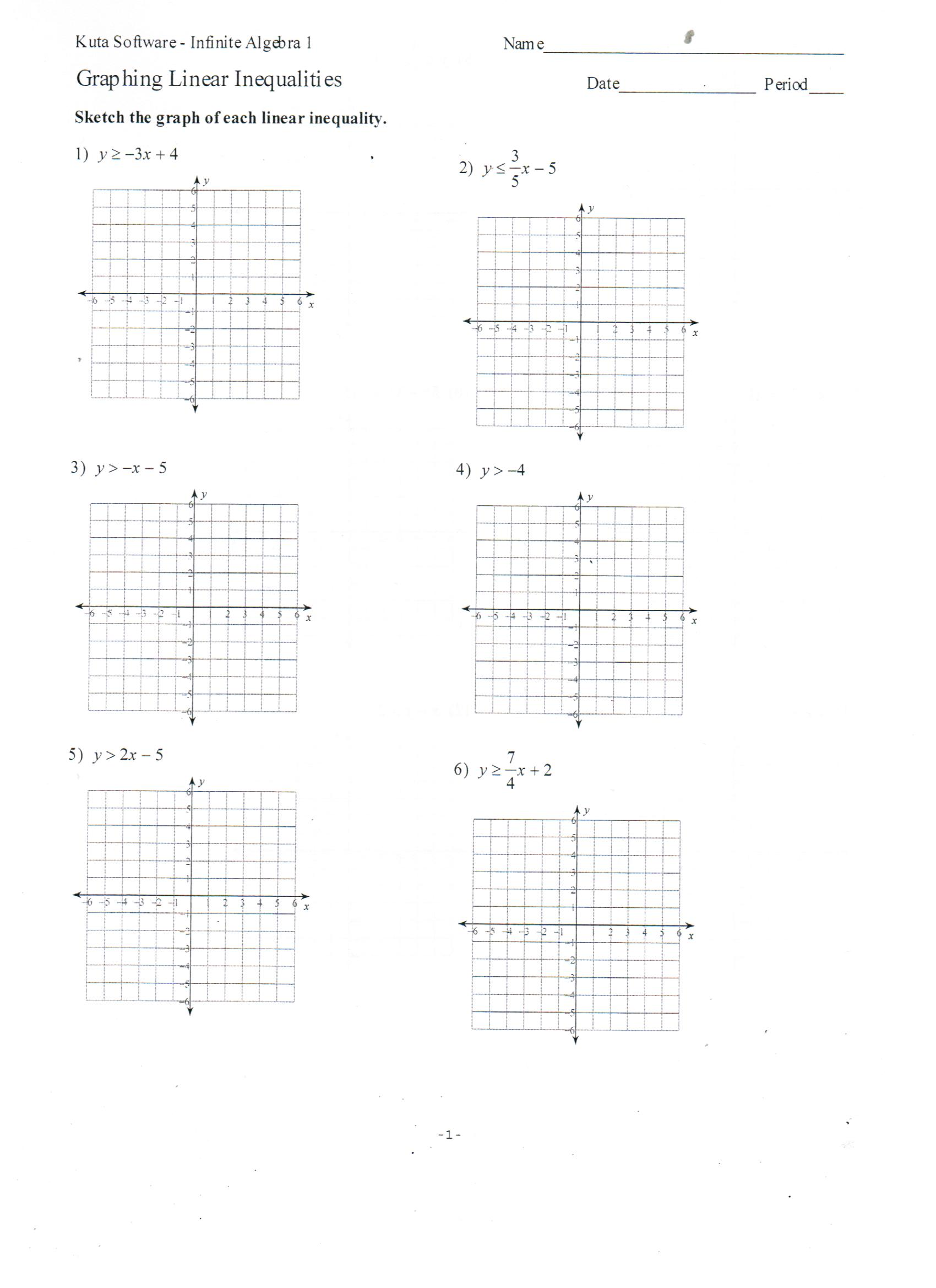 worksheet Graphing Linear Inequalities Worksheet Answers graph linear equations worksheet kuta tessshebaylo graphing with answer key jennarocca inequalities functions worksheets