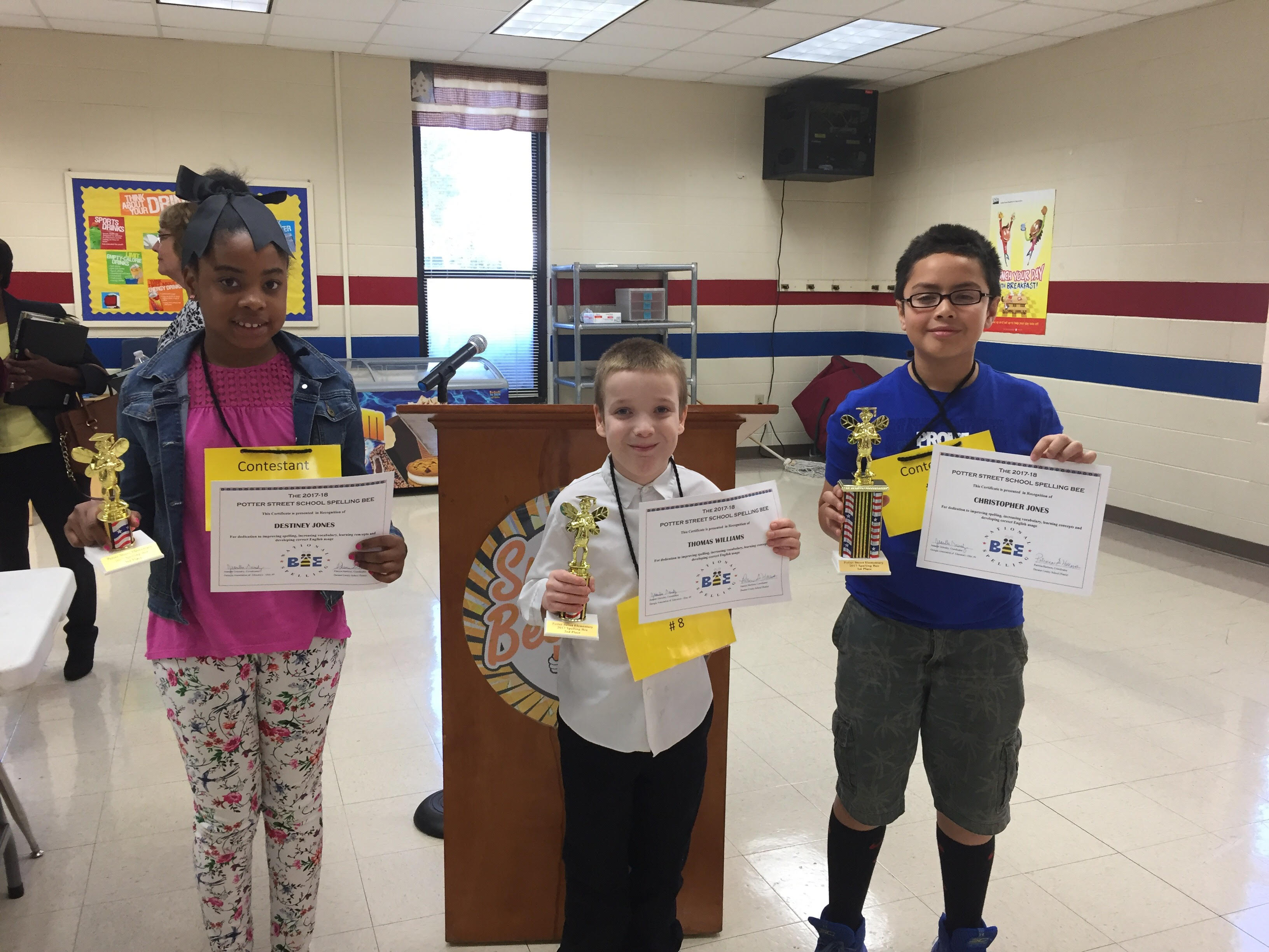 Congratulations to our 4th grade participants at the District Spelling Bee! Destiny Jones, Thomas Williams and Christopher Jones
